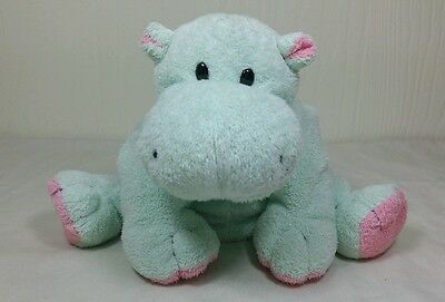 TY Pluffies Tubby Green Pink Hippo Plastic Eyes 2002 Plush Stuffed Animal Lovey