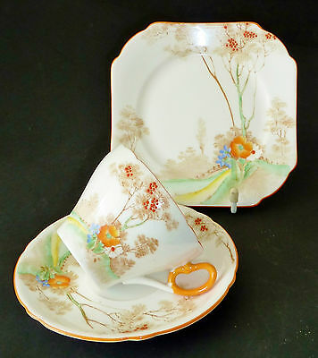 **SHELLEY bone china trio ART DECO Hand painted enamels AUTUMN SCENE c1940's
