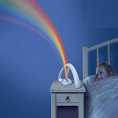 Magic Children Kids Home Bedroom Decor Rainbow Led Projector Night Light Lamp
