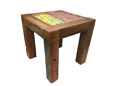 Reclaimed Industrial Boat Wood Stool Table Book Shelf Coffee Stand Plant Cake 1