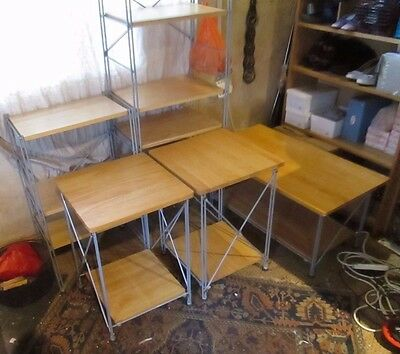 Shelving Bookcases & Tables,Beech & Grey Metal,Adjustable,2 Shelf Units,3 Tables