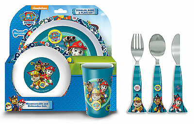 Paw Patrol Good Pups | Rubble 6pc Tumbler, Bowl, Plate Set & Cutlery | Mealtime