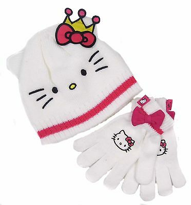 Hello Kitty Hat and Gloves Pretty White with Pink Crown 8-10 Years …