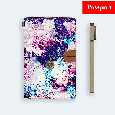 Genuine Leather Journal Travel Diary Travelers Passport Size Watercolor Flower