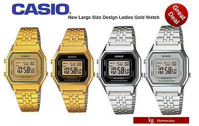 New Casio Original Classic Big Size Ladies Digital Watch In Retro Designs - 4 Co