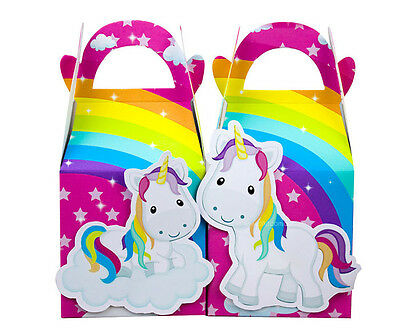 12X Rainbow Unicorn Favour Boxes Themed Kids Birthday Bags Supplies Decorations