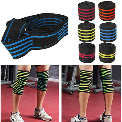 Gym Sports Elastic Knee Wraps Men's Weight Lifting Bandage Straps Guard Pads NEW