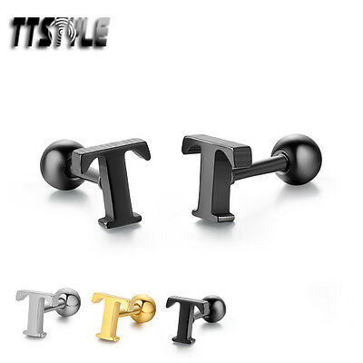 TTstyle Surgical Steel Letter T Fake Ear Cartilage Tragus Earrings 3 Colours