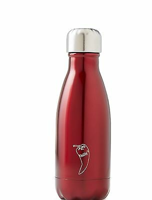Chilly's Red Shiny Thermal Vacuum Insulation Stainless Drinks Bottle 260ml