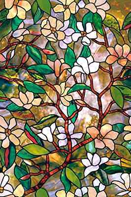 Window Film Artscape Magnolia Stained Glass Effect UV Protection 24 x 36 Inches