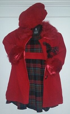 Girls Kids Christmas Winter Stylish Fur Jacket Coat & Tartan Dress Matching Hat