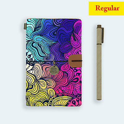 Genuine Leather Journal Travel Diary Travelers Regular Size Abstract Painting