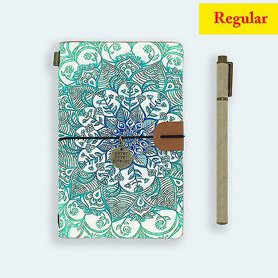 Genuine Leather Journal Travel Diary Travelers Regular Size Emerald Aztec