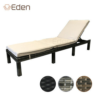 Rattan Reclining Sun Lounger/Bed with Cushions Garden/Deck/Pool Grey/Black/Brown