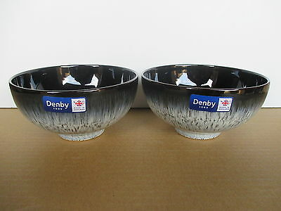 Denby Pottery Halo 2 x New First Quality Rice Bowls Excellent Condition