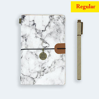 Genuine Leather Journal Travel Diary Travelers Regular Size Marble Stone