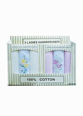Ladies 100% Cotton Handkerchiefs Brand New Presentation Box Perfect Xmas Gift