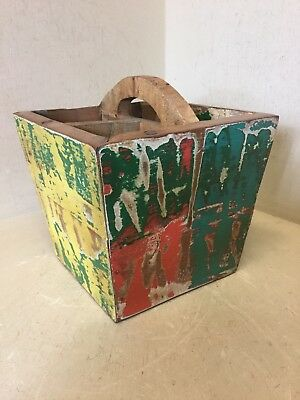 Reclaimed Industrial Boat Wood Condiments Holder Wine Rack Box Tidy Caddy Drinks