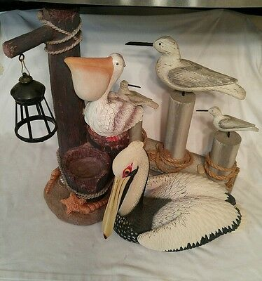 3 piece Hand carved Pelican Seagulls Pier Driftwood Ropes Nautical Seashells