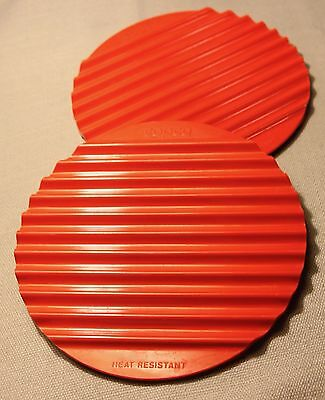 Vintage Copco Kitchen Red Melamine Hot Plate Holders ! Retro Kitchenware +
