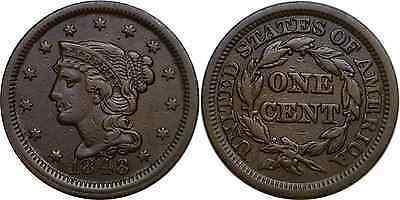 1848 1C Braided Hair Large Cent Very Fine