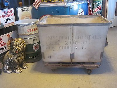 VTG DANDUX Industrial Canvas Steampunk NYC Mail Basket Cart with Wheel Casters
