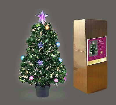 2ft 3ft 4ft 5ft 6ft LED Fibre Optic Christmas Tree Baubles & Star Decoration
