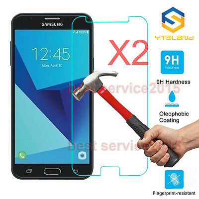 2Pcs 9H Tempered Glass Screen Protector For Samsung Galaxy J7 V ( 2017 ) j7 Perx