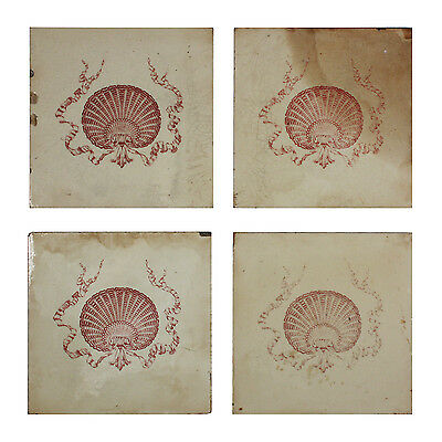 "Antique Tile with Seashell Design, 6"" x 6"", 19th Century, 4 Available, NFT49"