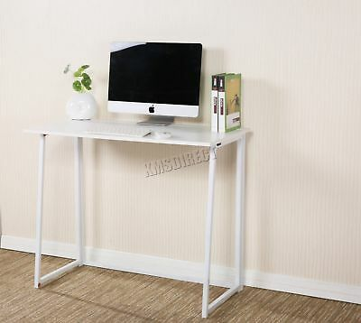 FoxHunter Foldable Computer Desk Folding Laptop PC Table Home Office CD03 White