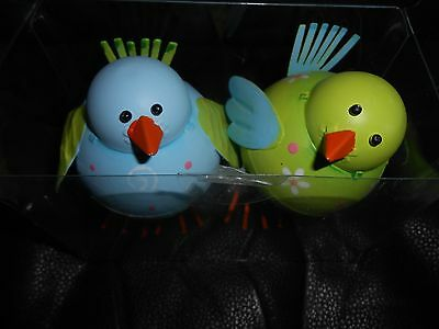 Set of 2 Blue and Green Metal Standing Baby Chicks 4 inches Tall New
