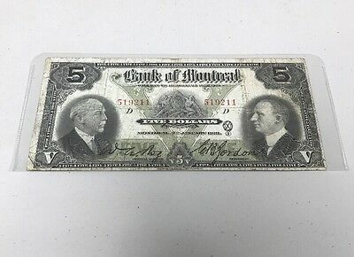 The Bank Of Montreal Chartered Note $5.00 Large 1931