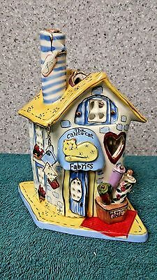 The Calico Cat t-lite holder from Blue Sky Clayworks by Heather Goldminc