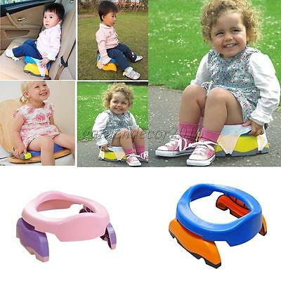 Foldable Kids Potette Plus Travel Potty Seat Chair Trainer 10 PP Bags Pink
