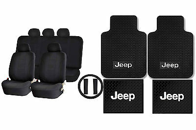 Jeep Classic Universal Rubber Mats Steering & Racer Black Seat Covers
