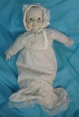 """Vintage 20"""" Porcelain Baby Doll Three 3 Faces SMILE CRY SLEEP"""