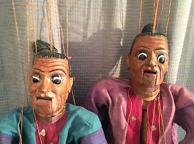 "Vintage Burmese Couple, Wooden Carved & Painted String Puppet 21"" Marionette"