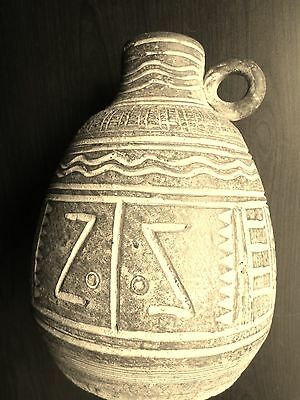 "Ancient JUG Hand-Made Glazed FINE Earthenware THAI or INCA Origin 9""  REDUCED"