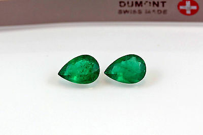 9 X 6mm 2.17 TCW Pear Matched Pair Natural Colombian Emeralds Loose Gemstones