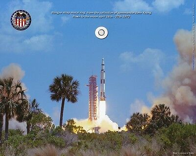 """""""Apollo 16 FLOWN to the Moon metal ring"""", Saturn 5 Launch, Cert of Auth (COA)"""
