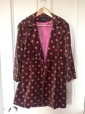 MINI BODEN Girls Cotton Velvet Polka Dot Coat 12-13 Yrs Brown/Pink IMMACULATE