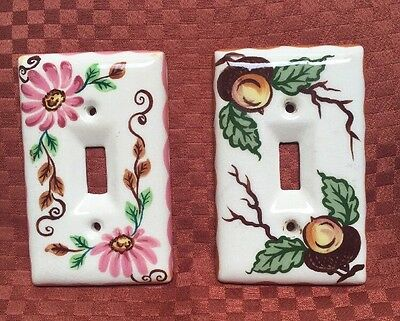 Vintage Ceramic Switch plates Floral Forest Acorns Set Of Two