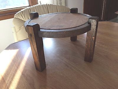 ANTIQUE WOOD Round FOOT STOOL could add NEEDLEPOINT UPHOLSTERY PICTURE 12""