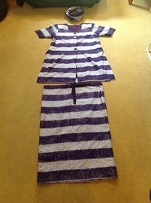 Stunning African Traditional Outfit, Purple/Cream, 3 Piece Set,top,skirt,scalf