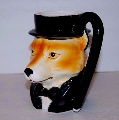 VTG Red Fox in Top Hat Tux Collectible Figural Mug 1980 Quon Quon Japan Ceramic