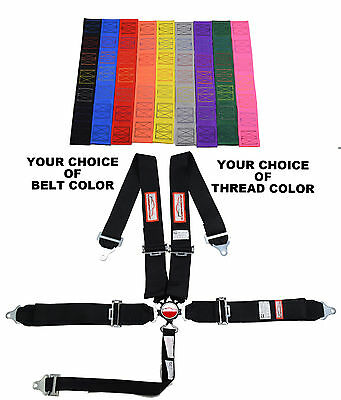 """Your Choice Of Thread & Belt Color 3"""" Cam Lock 5 Point Racing Harness Roll Bar"""