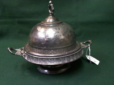 antique Aurora quadruple plate warrented 164 butter dish with lid silver plate
