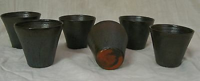"""A.R. Cole Pottery North Carolina 6 Juice Cups Tumblers, 3"""" Tall, Blue Green"""