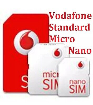 Vodaphone Sim Uk Official Pay As You Go (Standard/micro/nano) With £5 Credit