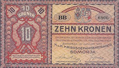 Austria / Hungary  10 Kronen  15.1.1916  Series BB Uncirculated Banknote